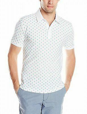 Penguin NEW White Blue Men's Size 2XL Slim Fit Printed Polo Shirt $69 037
