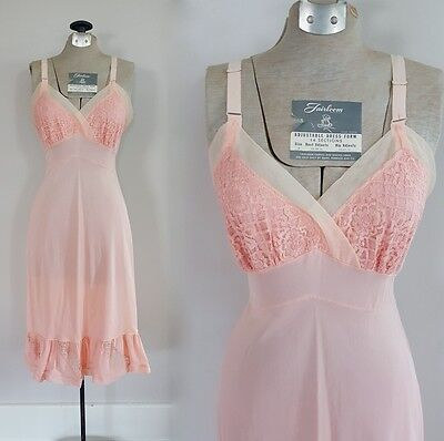Vintage 50s 60s Pale Pink Movie Star Slip 1950s 1960 Nylon Lace Nightgown Ruffle