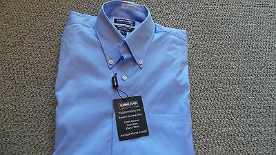 New Kirkland Men's 100% Cotton Button Down Dress Shirt 15.5 X 34/35 Medium