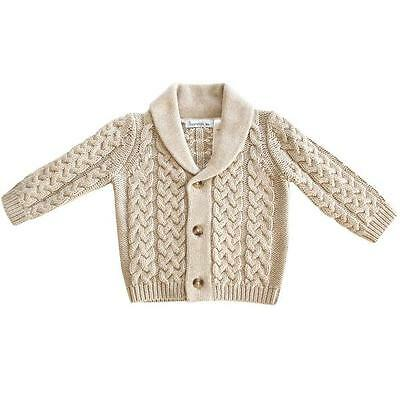 Beanstork Baby Boy Cable Knit Cardigan Jumper - Beige Size 000 00