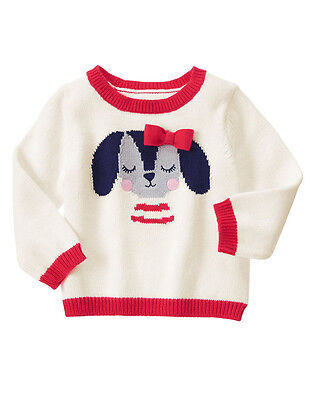NWT Gymboree FUN AT HEART Ivory & Red Puppy Dog Heart Long Sleeve Sweater~5T~