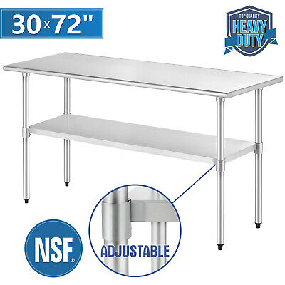 "Stainless Steel Commercial Kitchen Restaurant Work Prep Table 30"" x 72"""