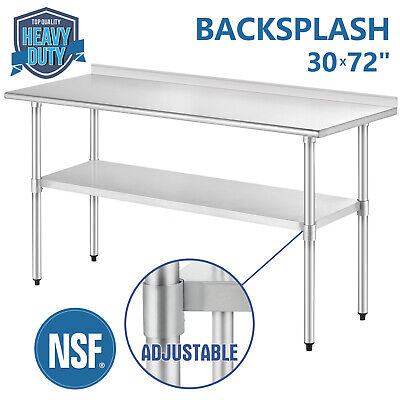 "30"" x 72"" Work Table Stainless Steel For Kitchen Restaurant with Backsplash"