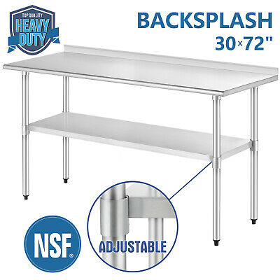 "30""X72"" Work Prep Table Stainless Steel Kitchen Restaurant W/Backsplash"
