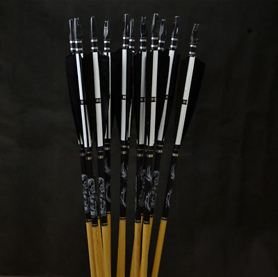 AF 12pcs 31inch Turkey feathers wooden arrows for Shooting Longbow Recurve bow