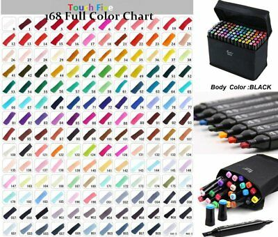 168 Colour Set Marker Pen Touch New Graphic Art Five Sketch Twin Tip Free Glove