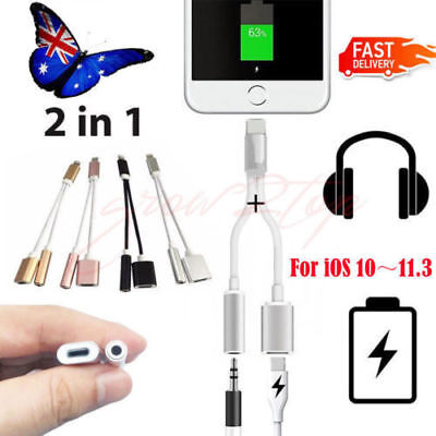 2 in 1 Lightning to 3.5mm Aux Earphone Jack Charger Adapter For iphone 7 Plus AU
