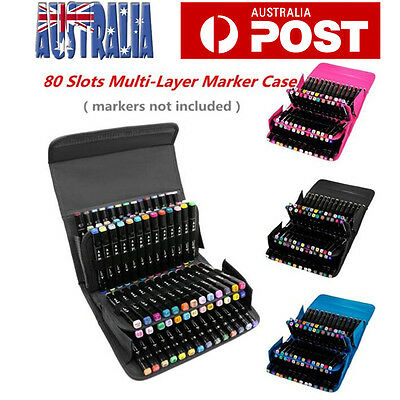 80 Slots Multi-Layer Markers Pens Storage Carrying Case Holders Portable Bag AU
