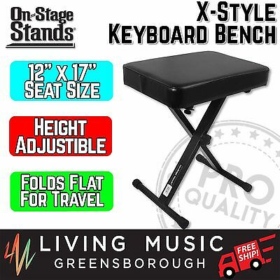 NEW On Stage Piano X-Style Keyboard Piano Bench Stool in Black