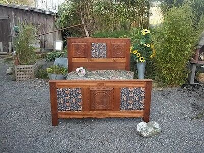 Antique French Provincial Carved Breton Double Bedstead Beautiful Panels