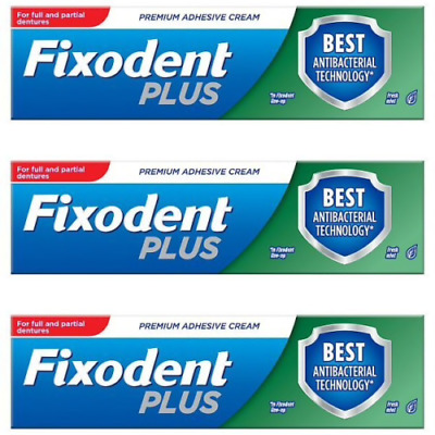 3 Fixodent Plus Dual Protection Denture Adhesive Cream Foodseal Antibacterial 40