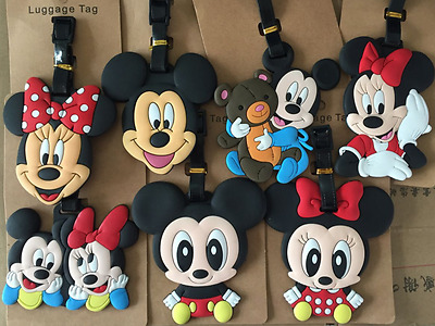 7 Styles Disney Mickey Minnie PVC Cartoon Travel Suitcase Name Bags Luggage Tags