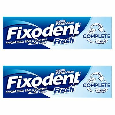 2 x Fixodent Fresh Complete Denture Adhesive Cream Strong Hold Food Seal Comfort