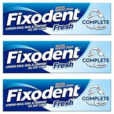 3 x Fixodent Fresh Complete Denture Adhesive Cream Strong Hold Food Seal Comfort
