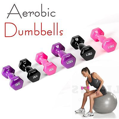 2/3/4/5/6KG Vinyl Coated Ladies Dumbbells Set Weights Aerobics Fitness Training