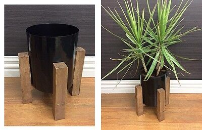 George Planter W/ Timber Stand Pot Flower Plant Holder Outdoor Black