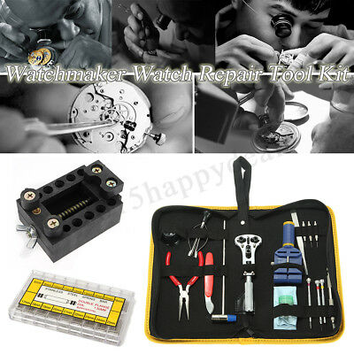 Watchmaker Watch Repair Tool Kit Back Case Opener Remover Spring Pin Set UK
