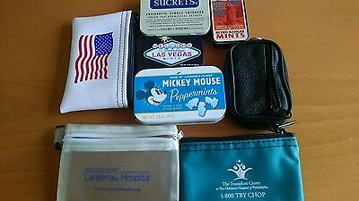 lot of mint tins, Sucrets tin and ID coin purse