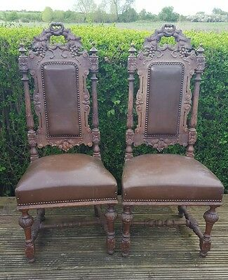 Antique Victorian Ornate Carved Oak Chairs - Stunning Pair