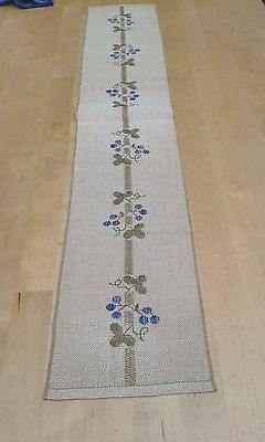 Swedish hessian table runner with embroidered blueberries