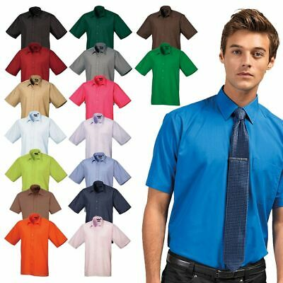 Men's Short Sleeve Poplin Shirt Plain Work Shirt Premier PR202 Sizes 14.5 - 22