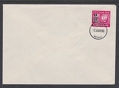 "Zimbabwe - 1990 Postage Due 25c on 10c -  ""MUTARE 2 JAN 90"" FDC - D33 - #004"