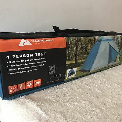OZARK TRAIL 4 PERSON  DOME TENT 1700 Hydrostatic Protection Camping NEW 4 Man