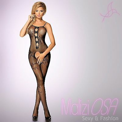 Bodystocking Catsuit NERO Tutina Rete Aperta Hot lingerie Sexy Intimo Body Donna