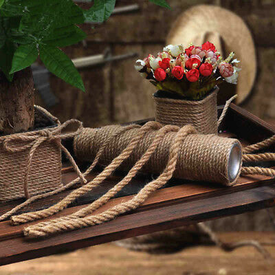 2-10M Natural Jute Hessian Rope Cord Braided Twisted Boating Sash Garden Decking