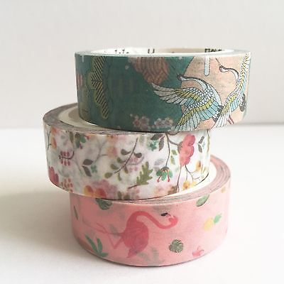 3 x 7m Pink Flamingo & Floral Japanese 15mm Washi Tape Stationery  Wrapping