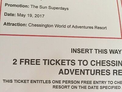 2x chessington world of adventures tickets - Valid on 19th May 2017 (19/05/2017)