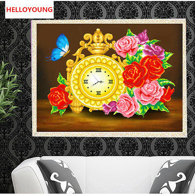 DIY Partial 5D Diamond Embroider The Rose Watch Round Diamond Painting Cross