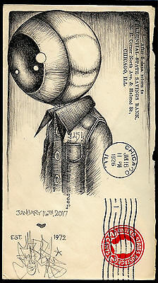 US 1926 altered illustrated cover art original graphite drawing postal history
