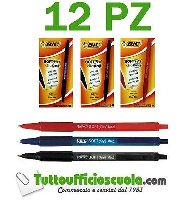 12 PENNA A SFERA BIC SOFT FEEL CLIC GRIP ORIGINAL MEDIUM 1.0 mm NERO BLU ROSSO