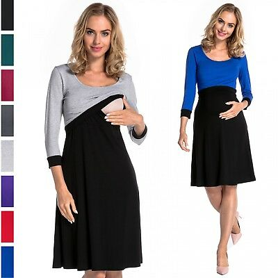 Happy Mama. Women's Nursing Two Piece Skater Dress Separate Top Pregnancy. 721p
