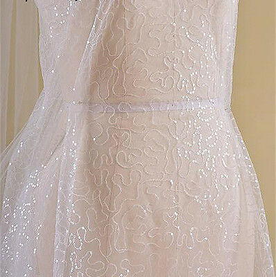 "Stunning Ivory Sequin Wedding Lace Tulle 55"" Wide Beaded Bridal Lace Fabric 0.5Y"