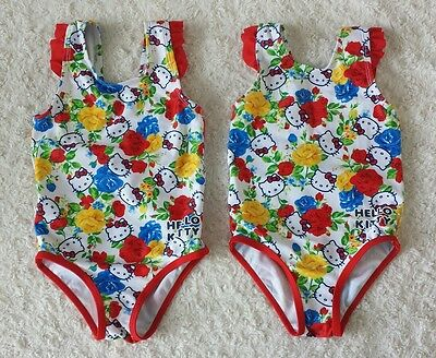 Twin Girls Hello Kitty Floral Swimwear Size 12-18Months and 18-24Months