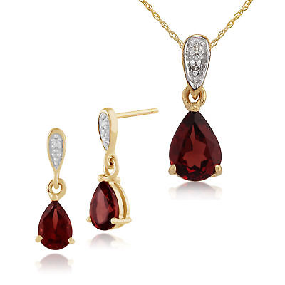9ct Yellow Gold Mozambique Garnet & Diamond Drop Earrings & 45cm Necklace Set
