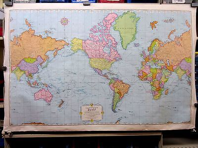"Vintage 1980's RAND McNALLY Cosmopolitan World Map 52"" x 34"" Poster"