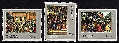 Malta 1984 Christmas - Paintings  Complete Set SG745 -7 Unmounted Mint
