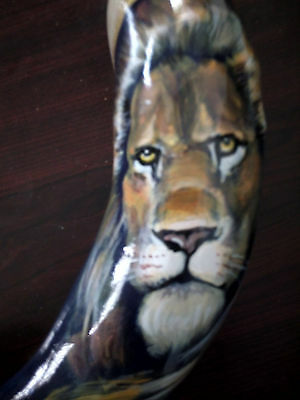 "14""-16"" Ram Horn Shofar.Hand painted .Lion Of Judah."