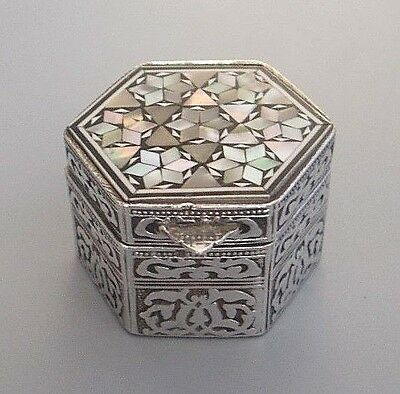 Vintage Egyptian solid silver (800 grade) & MOP pill box - hallmarked