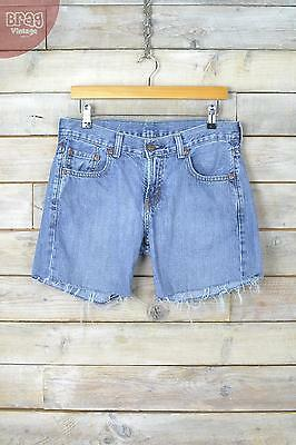 Vintage Levi's 550 Mid Blue Distressed Denim Shorts (W30)