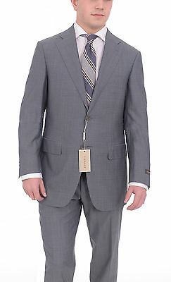 Canali Slim Fit 40r 50 Blue Textured Two Button Wool Silk Blend Suit