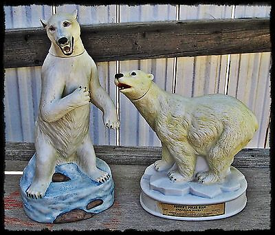 2 Full Size POLAR BEARS Figural DECANTERS Ski Country Ltd 1984 - Potters Whiskey