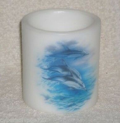Tea light Candle Holder Wax Crafted with Dolphin Scene Nautical Vintage 2000