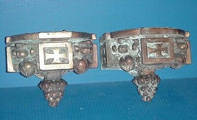Antique Pair Bronze Figural Fruit Lamp Wall Sconces Gothic Victorian Masonic Old