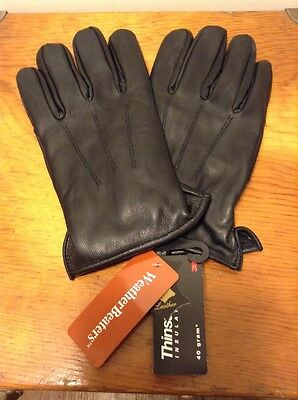 NWT MENS 100% LEATHER GLOVES BLACK 3M THINSULATE INSULATION 40 GRAM Size L