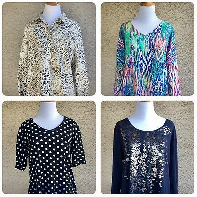 Women's CHICOS Tops Shirts Blouse Lot Cotton No-Iron Zenergy Size 2