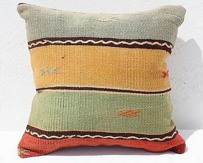 TURKISH KILIM HAND-WOVEN RUG PILLOW CUSHION COVER 16x16